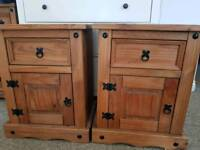 Mexican pine bedside tables/ drawers x2