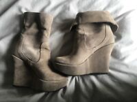 Cream wedge boot