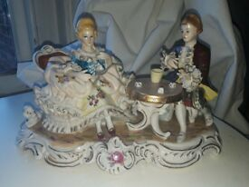 Beautifully detailed large Dresden Lace Porcelain Figurine shabby chic