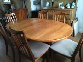 1970's G Plan Dining Table and 6 chairs