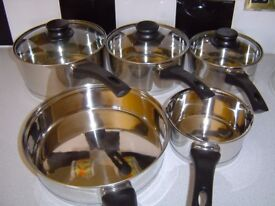 NEW HELL'S KITCHEN STAINLESS STEEL PAN SET