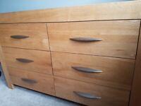 Alto Oak Furniture Land TV cabinet, 6 drawer unit and nesting tables
