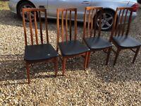 4 Vintage Teak Dining Chairs
