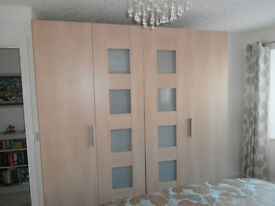 Large Double Wardrobe, light oak finish, excellent condition