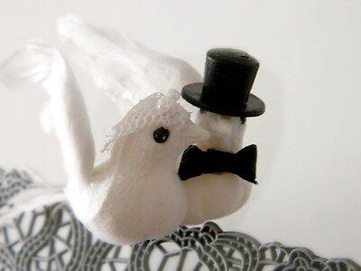 Dove Couple w/ Veil Top Hat Tux Cake Topper 3