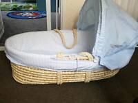 Blue Padded Moses basket