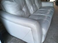Real leather 3 seater cream sofa from
