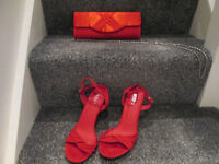 LADIES RED HEELS (SIZE 6) / RED BAG TO MATCH - BRAND NEW