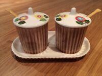 Vintage Fairylite Foreign Jam/Marmalade Jar pair