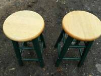 Wooden pair of stools