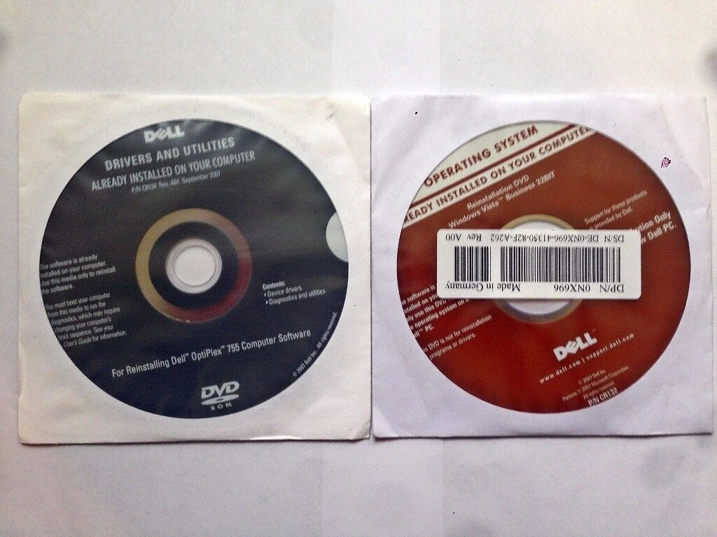 DELL WINDOWS VISTA BUSINESS 32 BIT OPERATING SYSTEM DISK WITH DRIVERS DISK & POWER DVD DISK
