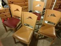 4 pizza hut chairs