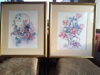Two Large floral pictures by Carole Andrews