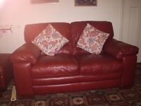 Red Leather Sofa and Stool £350 ono buyer collects