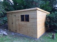 12 x 10 PENT GARDEN STORAGE SHED HEAVY DUTY TONGUE AND GROOVE DOUBLE DOORS FULLY FITTED NEW