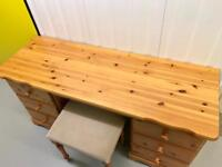 Solid Pine Dressing Table with Stool