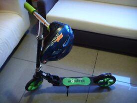 Black&Green Monster Boards Folding Kick Push Scooter with Helmet 52cm-55cm XXS