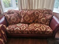 Barker and Stonehouse leather fabric 3 seater sofa with scatter cushions