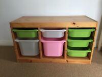 Ikea kids storage unit with boxes