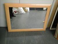 Thick edge pine mirror