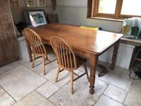 Antique Australian pine table and 2 chair