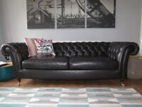 Dark Chocolate Brown/Black MARKS & SPENCER M&S Leather Chesterfield Sofa