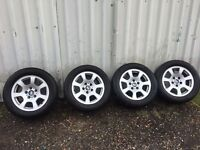 """BMW 16"""" Alloy Wheels With 225/55 R16 Dunlop Tyres SET OF 4"""