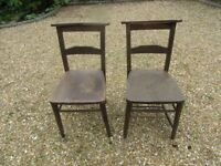 2 OLD CHURCH / CHAPEL CHAIRS. Pews, monks bench, pine benches, tables, & more chairs also for sale