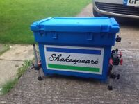 shakespear fish box great condition comes with carry strap side tray seat cushion octopus legs