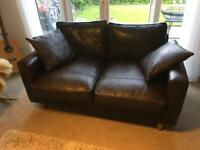 Real Leather 2 seats brown sofa, used but Good condition