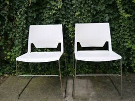 2x Habitat stackable contemporary white moulded plastic occasional dining chairs