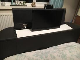 Double TV bed faux brown leather