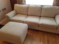 3 Seater Sofa and Footstool For Sale.