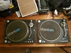Stanton st.150 pair turntables, decks, boxed