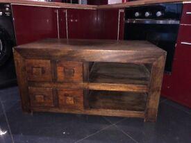Rustic solid java wood tv cabinet