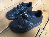 Lacoste Black Leather Boys Trainers/Shoes - Size 7 (Infant)