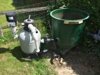 Vortex and aquadine pond filteration system
