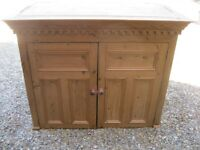 PINE CUPBOARD / FORMER DRESS TOP. Also for sale : CHURCH PEWS, MONKS BENCH, TABLE, CHAPEL CHAIRS
