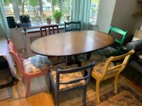 Folding oval dining table and 6 chairs