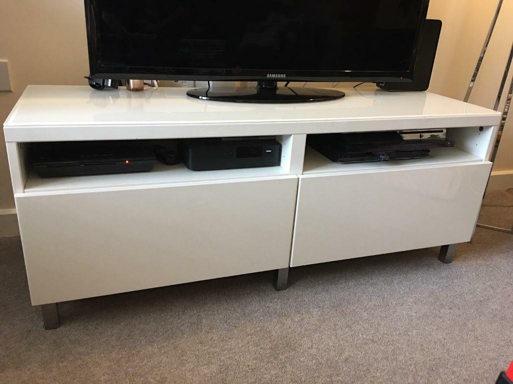 Ikea TV unit white gloss with glass top | in Botley, Hampshire | Gumtree