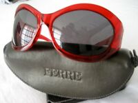 NEW Ferre Sunglasses Ruby Red - Made in Italy complete with Original Case, Tags & Cloth