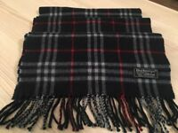 Genuine Burberry nova check dark blue wool scarf.