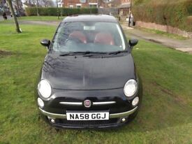 2009 Fiat 500 1.4 16v Sport 3dr [NEW MOT+RED LEATHER+PAN ROOF+PHONE+ALLOYS+AU...