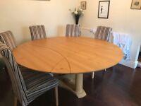 Handmade Oak Table with Walnut Inlay