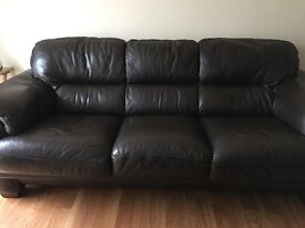 3 and 2 Seater brown leather sofa and foot stool
