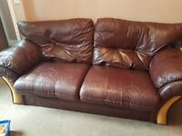 3 +2 seater burgundy leather settee