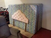 4 foot wide 3/4 small double divan bed with matching mattress and a headboard