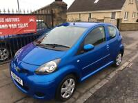 TOYOTA AYGO BLUE 1.0L (2010) 48000 MILES , 1 YEAR MOT, £20 TAX , WARRANTY £2495