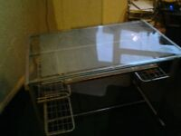 Glass topped computer desk/table