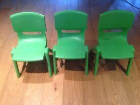 Kids, preschool chairs green x3 from Smyths